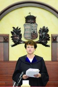 Richterin Ursula Vezekény sprach das umstrittene Urteil.
