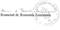 Rosnerne dr Romenda Zsuzsanna alairasa